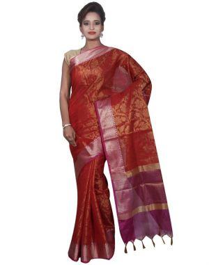 Buy Banarasi Silk Works Party Wear Designer Red Colour Cotton Saree For Women's(bsw31) online
