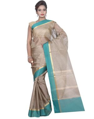 Buy Banarasi Silk Works Party Wear Designer Grey Colour Cotton Saree For Women's(bsw32) online