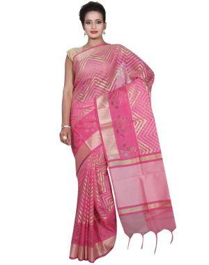 Buy Banarasi Silk Works Party Wear Designer Pink Colour Cotton Saree For Women's(bsw35) online
