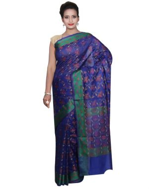 Buy Banarasi Silk Works Party Wear Designer Blue Colour Cotton Saree For Women's(bsw39) online