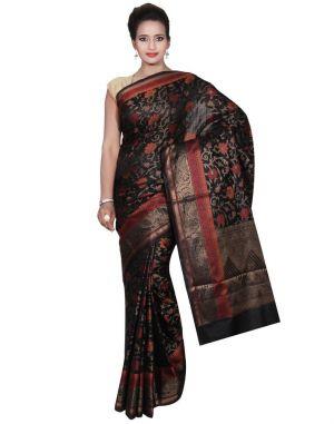 Buy Banarasi Silk Works Party Wear Designer Black Colour Cotton Saree For Women's(bsw40) online