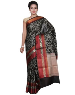 Buy Banarasi Silk Works Party Wear Designer Black Colour Cotton Saree For Women's(bsw41) online
