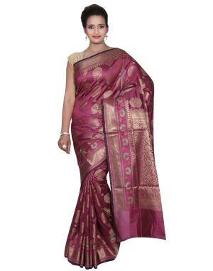 Buy Banarasi Silk Works Party Wear Designer Purple Colour Cotton Saree For Women's(bsw42) online