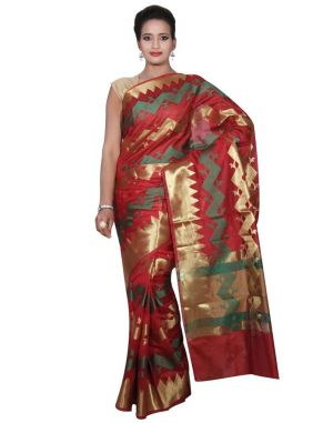 Buy Banarasi Silk Works Party Wear Designer Red Colour Cotton Saree For Women's(bsw47) online
