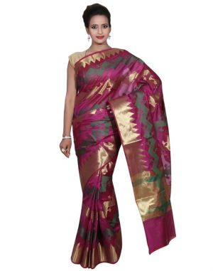 Buy Banarasi Silk Works Party Wear Designer Purple Colour Cotton Saree For Women's(bsw48) online