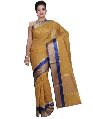 Buy Banarasi Silk Works Party Wear Designer Yellow Colour Super Net Saree For Women's(bsw49) online
