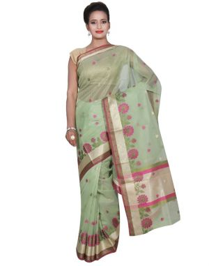 Buy Banarasi Silk Works Party Wear Designer Green Colour Super Net Saree For Women's(bsw53) online