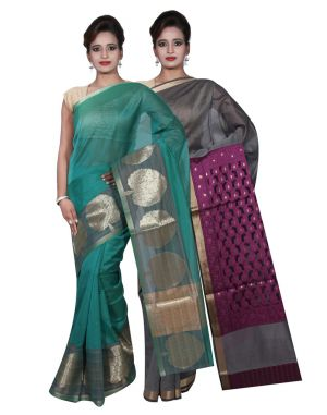 Buy Banarasi Silk Works Party Wear Designer Grey & Green Colour Cotton Combo Saree For Women's(bsw2_4) online