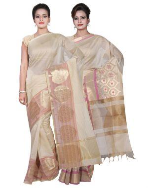 Buy Banarasi Silk Works Party Wear Designer Cream & Beige Colour Cotton Combo Saree For Women's(bsw3_5) online