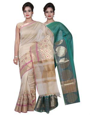 Buy Banarasi Silk Works Party Wear Designer Green & Beige Colour Cotton Combo Saree For Women's(bsw4_5) online