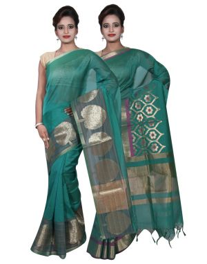 Buy Banarasi Silk Works Party Wear Designer Green & Green Colour Cotton Combo Saree For Women's(bsw4_6) online