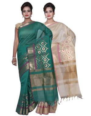 Buy Banarasi Silk Works Party Wear Designer Beige & Green Colour Cotton Combo Saree For Women's(bsw5_6) online