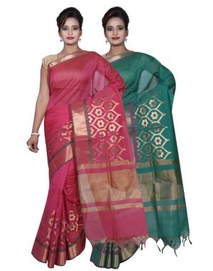 Buy Banarasi Silk Works Party Wear Designer Green & Pink Colour Cotton Combo Saree For Women's(bsw6_7) online