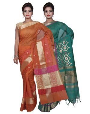 Buy Banarasi Silk Works Party Wear Designer Green & Orange Colour Cotton Combo Saree For Women's(bsw6_8) online