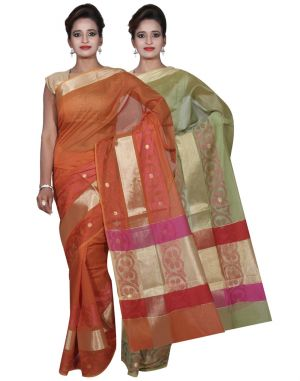 Buy Banarasi Silk Works Party Wear Designer Orange & Green Colour Cotton Combo Saree For Women's(bsw8_9) online