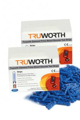 Buy Truworth Diamond Prima Red Test Strips Combo 100 + 50 Free Lancets online