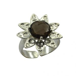Buy Riyo Gemstone Alloy Silver Hand Hammered Ring Aspr90-0011 online