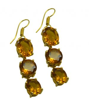 Buy Riyo Yellow Citrine Cz 18kt Gold Plated Flexible Earring L 2.5in Gpecicz-94016) online