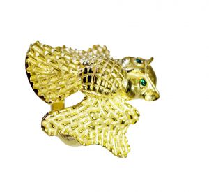 Buy Riyo Gemstone 18kt Gold Plated Bat Ring Gprbat80-130003 online