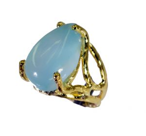 Buy Riyo Blue Chalcedony 18k Gold Plating Bridal Rings Sz 5 Gprbch5-8045 online