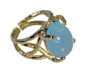 Buy Riyo Blue Chalcedony 18kt Gold Plating Guard Ring Sz 5.5 Gprbch5.5-8060 online