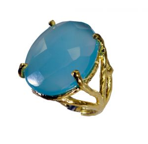 Buy Riyo Blue Chalcedony 18 Kt Y Gold Plating Mori Ring Sz 6 Gprbch6-8047 online