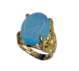 Buy Riyo Blue Chalcedony 18c Ygold Plating Engagement Ring Sz 6 Gprbch6-8057 online