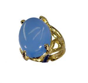 Buy Riyo Blue Chalcedony Gold Polish Friendship Ring Sz 6 Gprbch6-8058 online