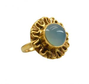 Buy Riyo A Blue Chalcedony 18kt Gold Plated Sparkling Ring Gprbch65-8062 online