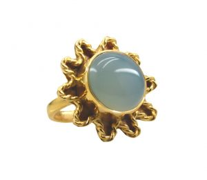 Buy Riyo A Blue Chalcedony 18kt Gold Plated Sparkly Ring Gprbch65-8066 online