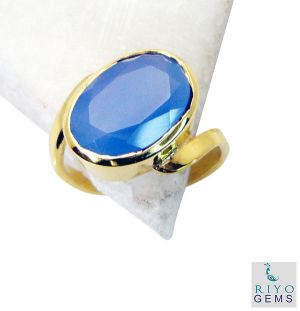 Buy Riyo Blue Chalcedony 18c Gold Plated Wedding Bands Sz 7 Gprbch7-8024 online