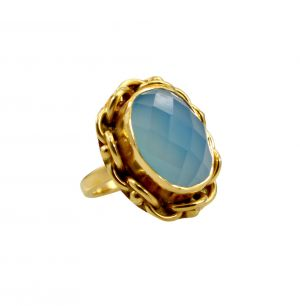 Buy Riyo A Blue Chalcedony 18kt Gold Plated Studded Ring Gprbch70-8064 online