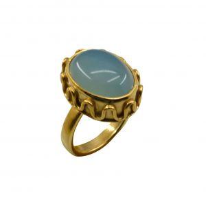Buy Riyo A Blue Chalcedony 18kt Gold Plated Stunning Ring Gprbch70-8068 online
