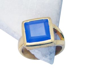 Buy Riyo Blue Chalcedony 18.kt Gold Plated Sovereign Ring Sz 7.5 Gprbch7.5-8030 online