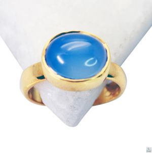 Buy Riyo Blue Chalcedony 18 Ct Ygold Plating Ring Jewelry Sz 8 Gprbch8-8031 online