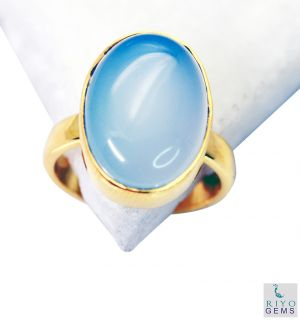 Buy Riyo Blue Chalcedony 18kt Y Gold Fashion Eternity Ring Sz 8 Gprbch8-8034 online