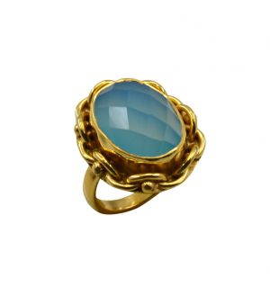 Buy Riyo A Blue Chalcedony 18kt Gold Plated Gorgeous Ring Gprbch80-8065 online
