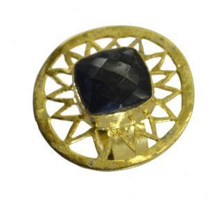 Buy Riyo A Black Onyx 18kt Gold Plated Large Ring Gprbon10-6087 online