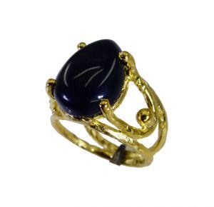 Buy Riyo Black Onyx Rhodium Plate Classic Day Rings online
