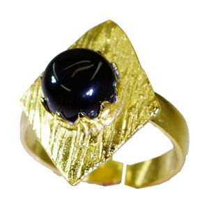 Buy Riyo Black Onyx Gold Plate Jewelry Ecclesiastical Ring Sz 8 Gprbon8-6041 online