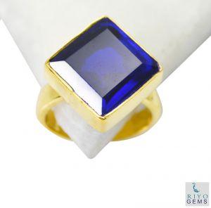 Buy Riyo Blue Sapphire Cz 18kt Y.g. Plated Ecclesiastical Ring Sz 5 Gprbscz5-90005 online