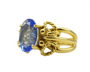 Buy Riyo A Blue Saphire Cz 18kt Gold Plated Metallic Ring Gprbscz60-90023 online