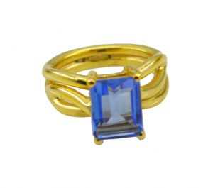 Buy Riyo A Blue Saphire Cz 18kt Gold Plated Ornate Ring Gprbscz60-90033 online