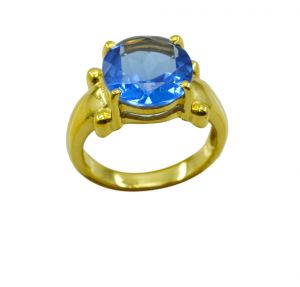 Buy Riyo A Blue Saphire Cz 18kt Gold Plated Preppy Ring Gprbscz70-90029 online