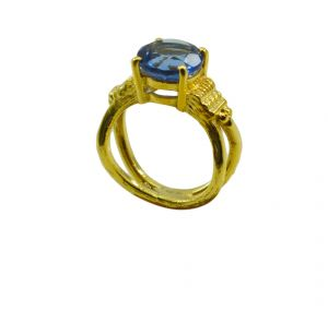 Buy Riyo A Blue Saphire Cz 18kt Gold Plated Professional Ring Gprbscz70-90035 online