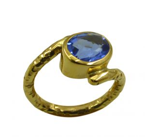 Buy Riyo A Blue Saphire Cz 18kt Gold Plated Rocker Style Ring Gprbscz75-90040 online