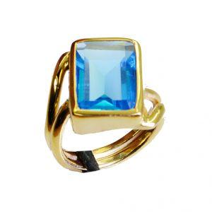 Buy Riyo Blue Topaz Cz 18-kt Gold Plated Rosary Ring Jewelry Sz 6 Gprbtcz6-92002 online