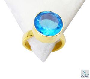 Buy Riyo Blue Topaz Cz Indian Gold Plate Finger Armor Ring Sz 6 Gprbtcz6-92044 online
