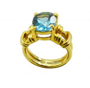 Buy Riyo A Blue Topaz Cz 18kt Gold Plated Slip On Ring Gprbtcz60-92106 online