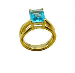Buy Riyo A Blue Topaz Cz 18kt Gold Plated Small Ring Gprbtcz60-92109 online